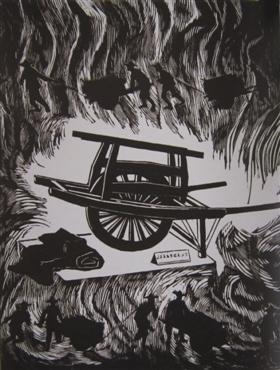"""这幅黑白木刻版画所描绘的""""独轮车"""""""